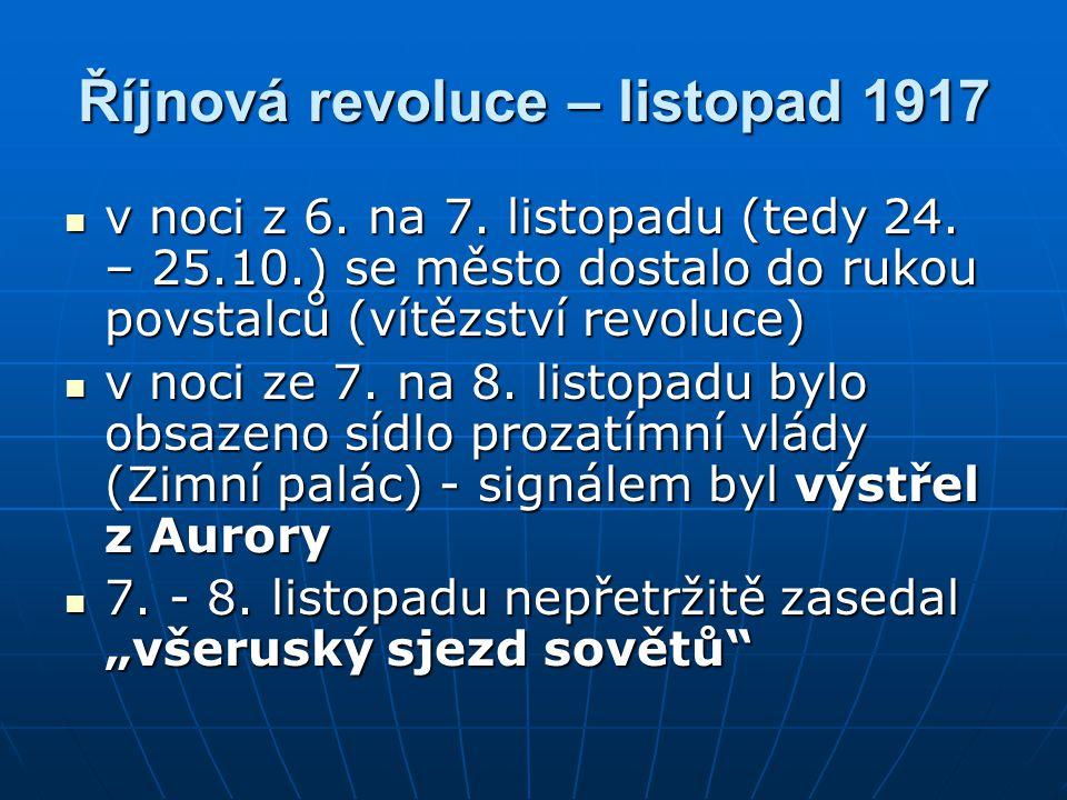 Říjnová revoluce – listopad 1917