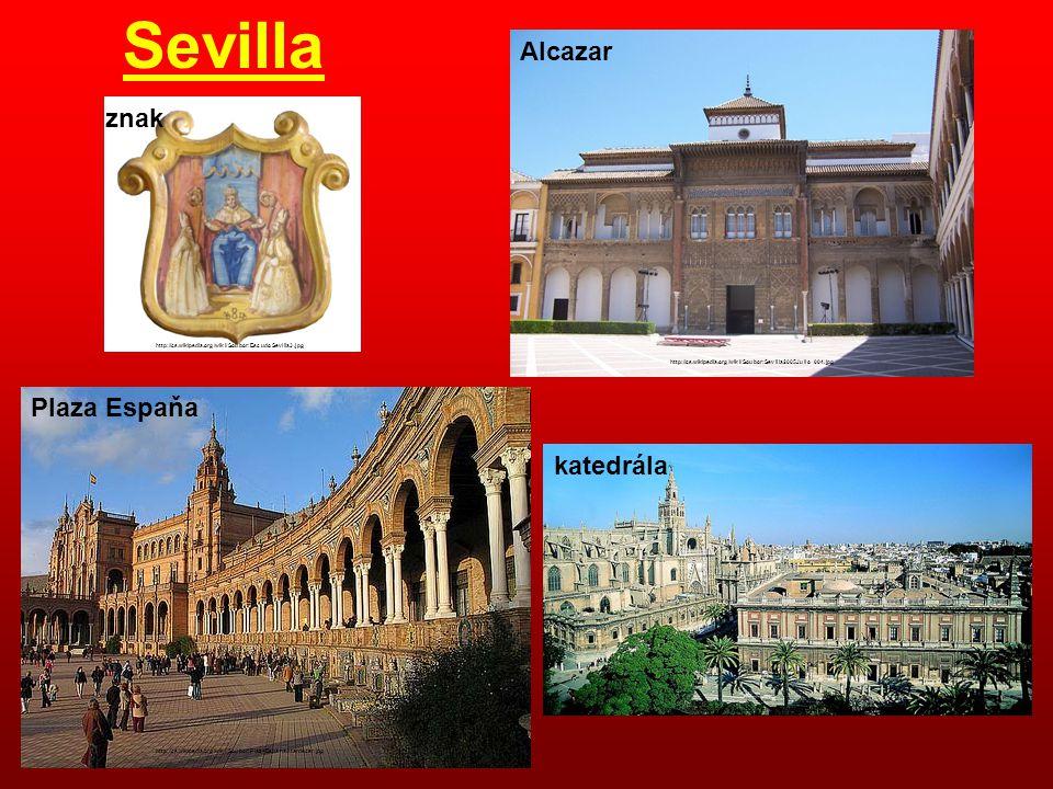 Sevilla Alcazar znak Plaza Espaňa katedrála