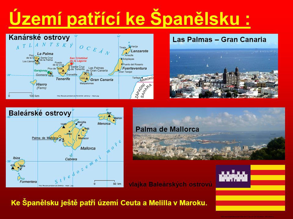 Území patřící ke Španělsku :