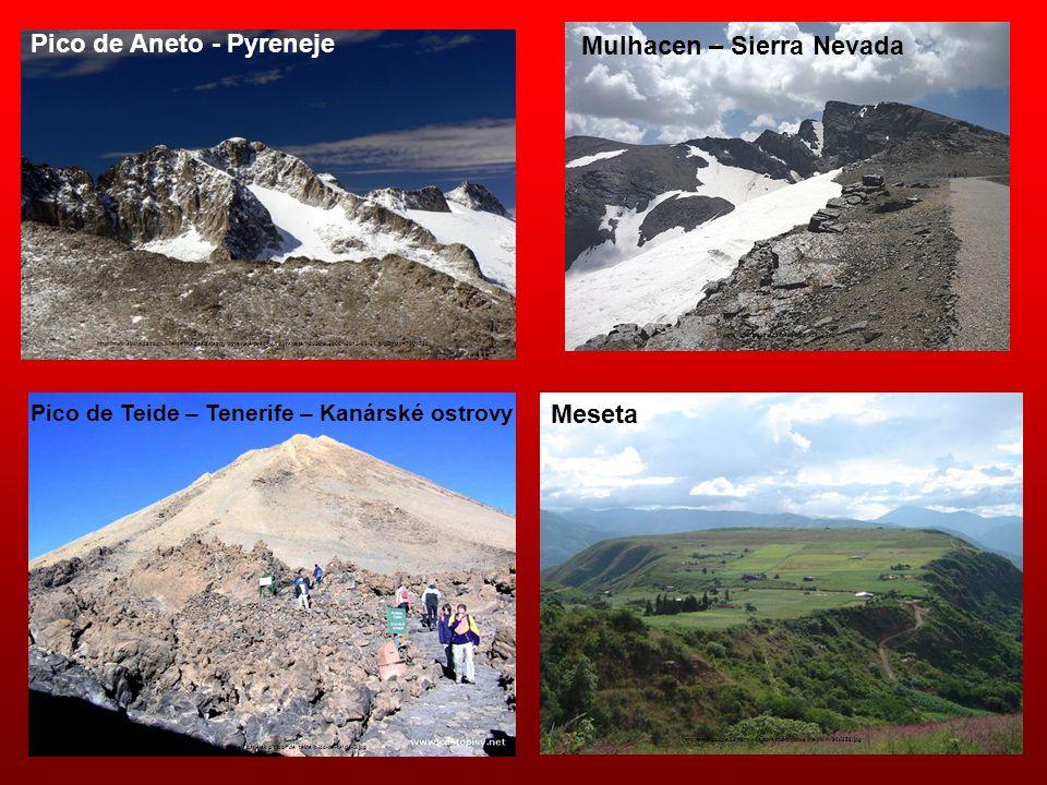 Pico de Aneto - Pyreneje Mulhacen – Sierra Nevada