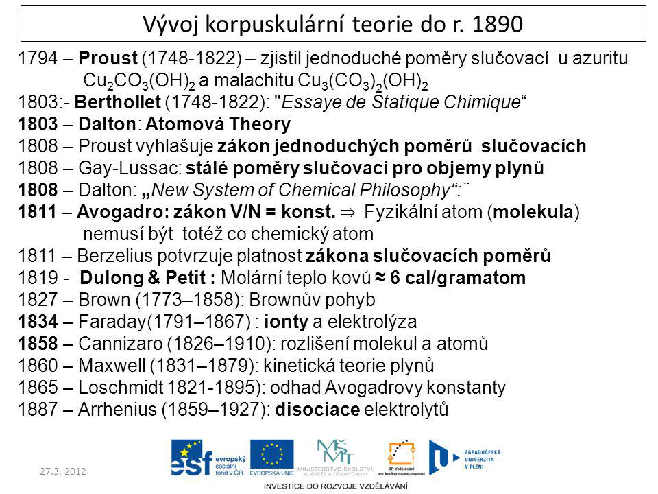 Vývoj korpuskulární teorie do r. 1890