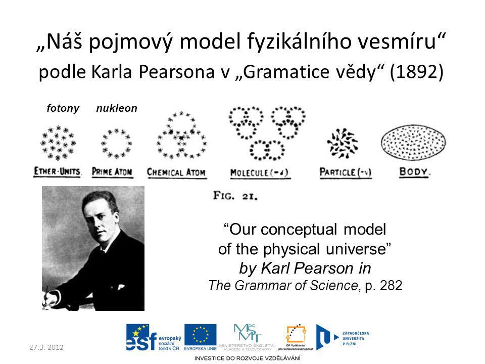 """""""Náš pojmový model fyzikálního vesmíru podle Karla Pearsona v """"Gramatice vědy (1892)"""