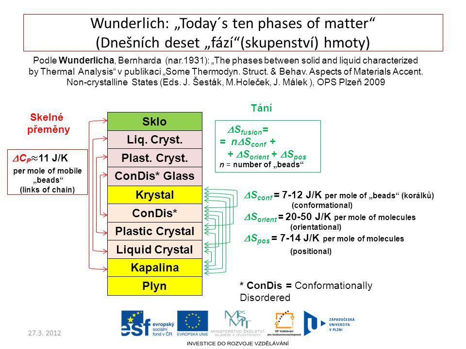 """Wunderlich: """"Today´s ten phases of matter (Dnešních deset """"fází (skupenství) hmoty)"""