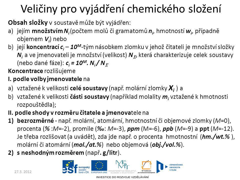 Veličiny pro vyjádření chemického složení