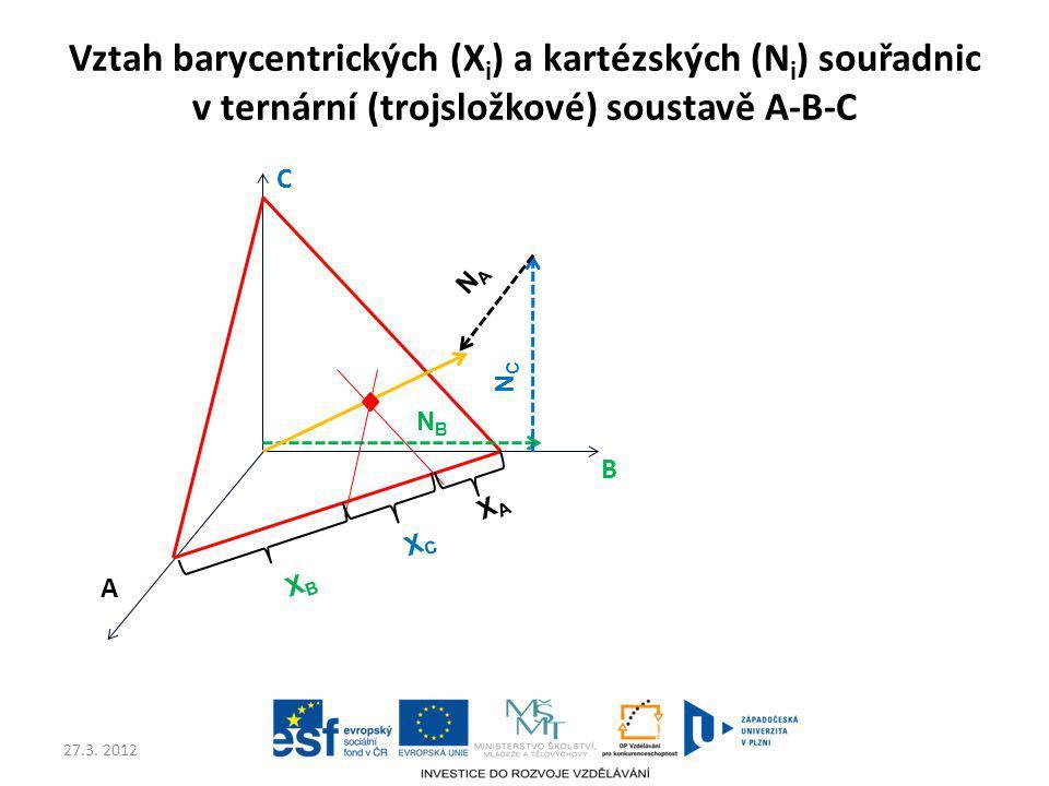 Vztah barycentrických (Xi) a kartézských (Ni) souřadnic v ternární (trojsložkové) soustavě A-B-C