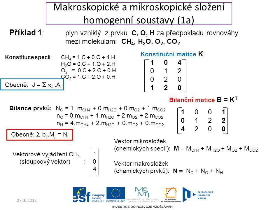 Makroskopické a mikroskopické složení homogenní soustavy (1a)