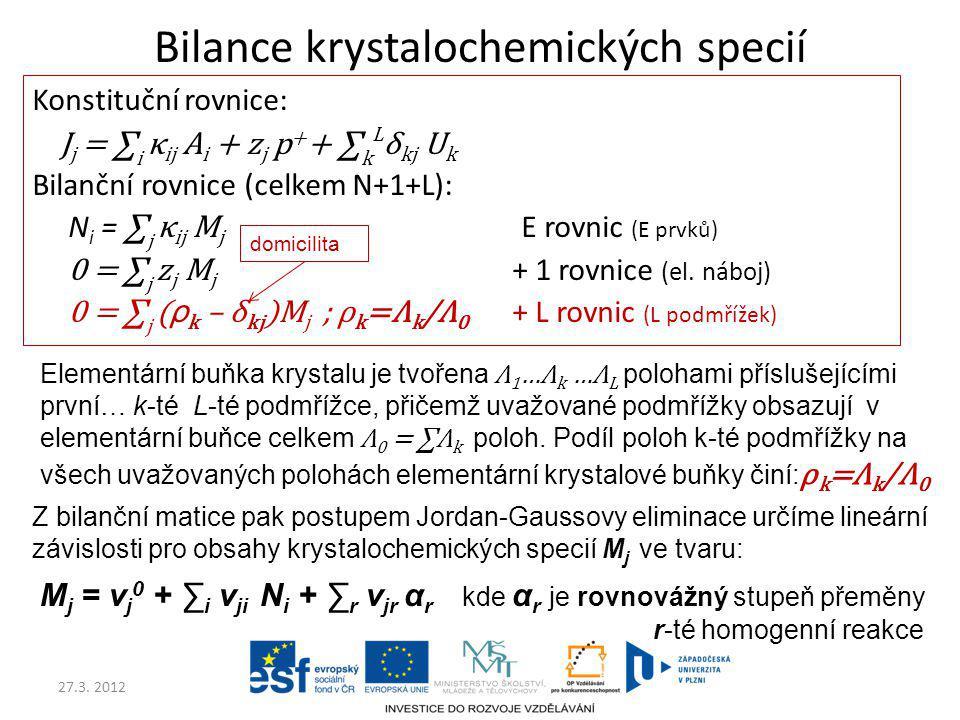 Bilance krystalochemických specií