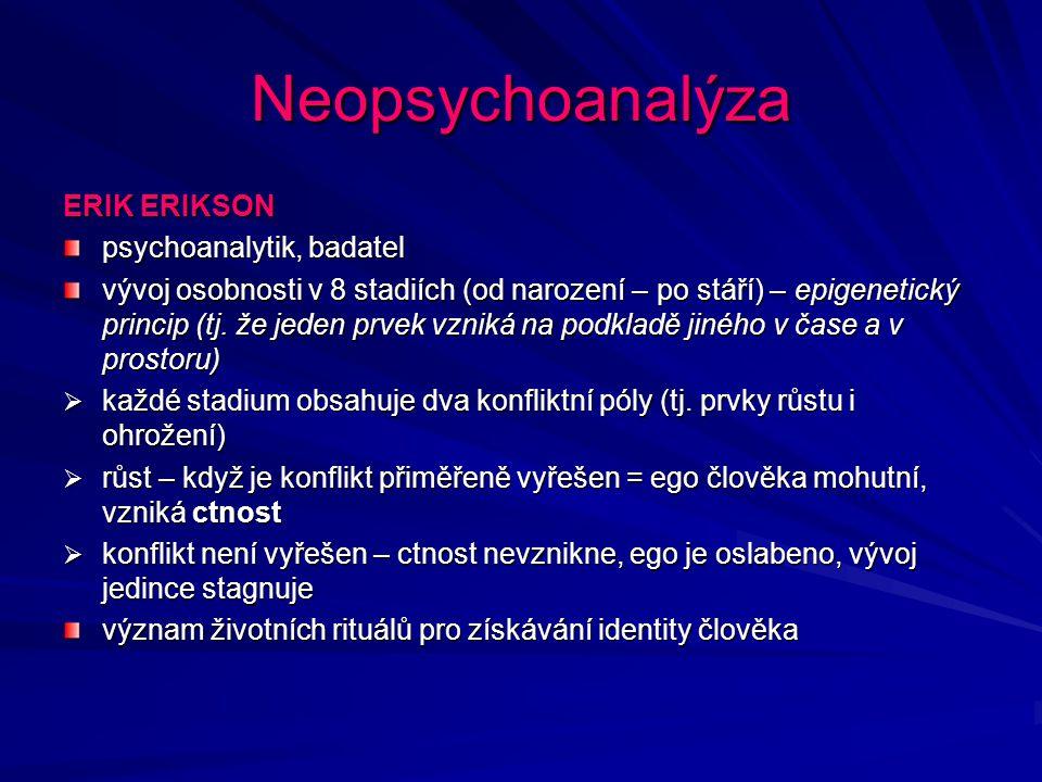 Neopsychoanalýza ERIK ERIKSON psychoanalytik, badatel
