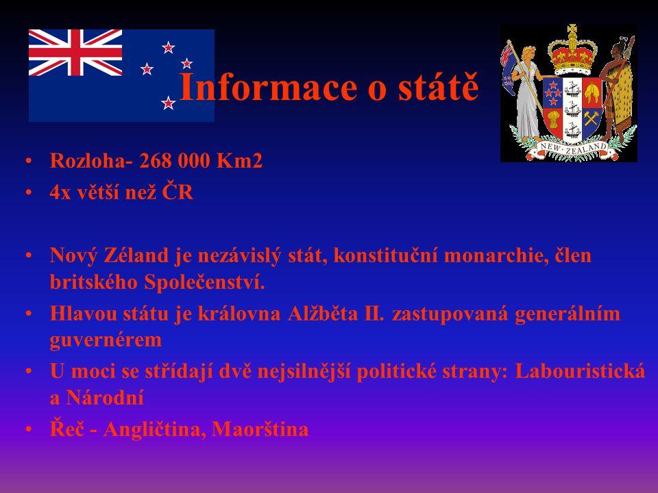 Informace o státě Rozloha- 268 000 Km2 4x větší než ČR