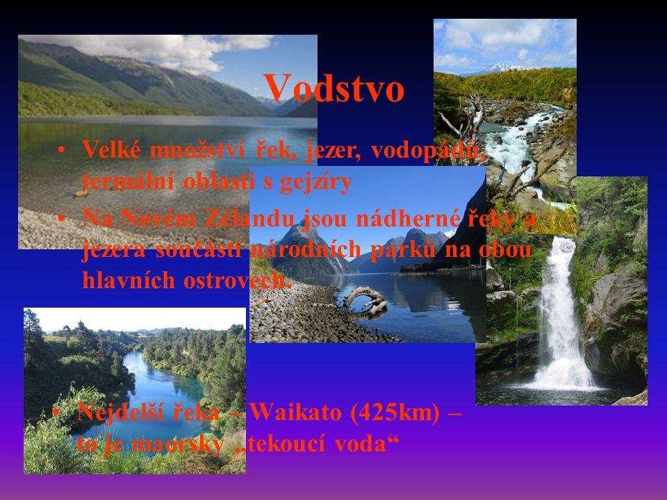 Vodstvo Velké množství řek, jezer, vodopádů, termální oblasti s gejzíry.