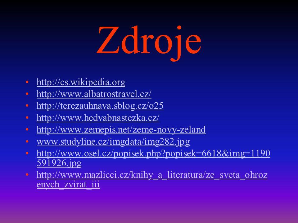 Zdroje http://cs.wikipedia.org http://www.albatrostravel.cz/