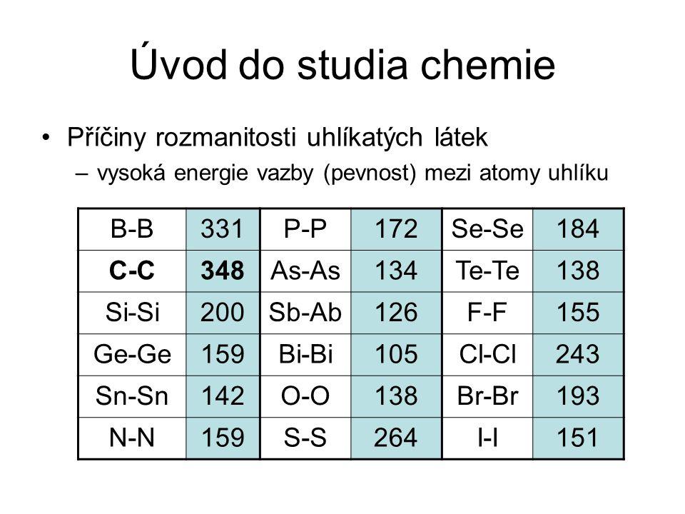 Úvod do studia chemie Příčiny rozmanitosti uhlíkatých látek B-B 331