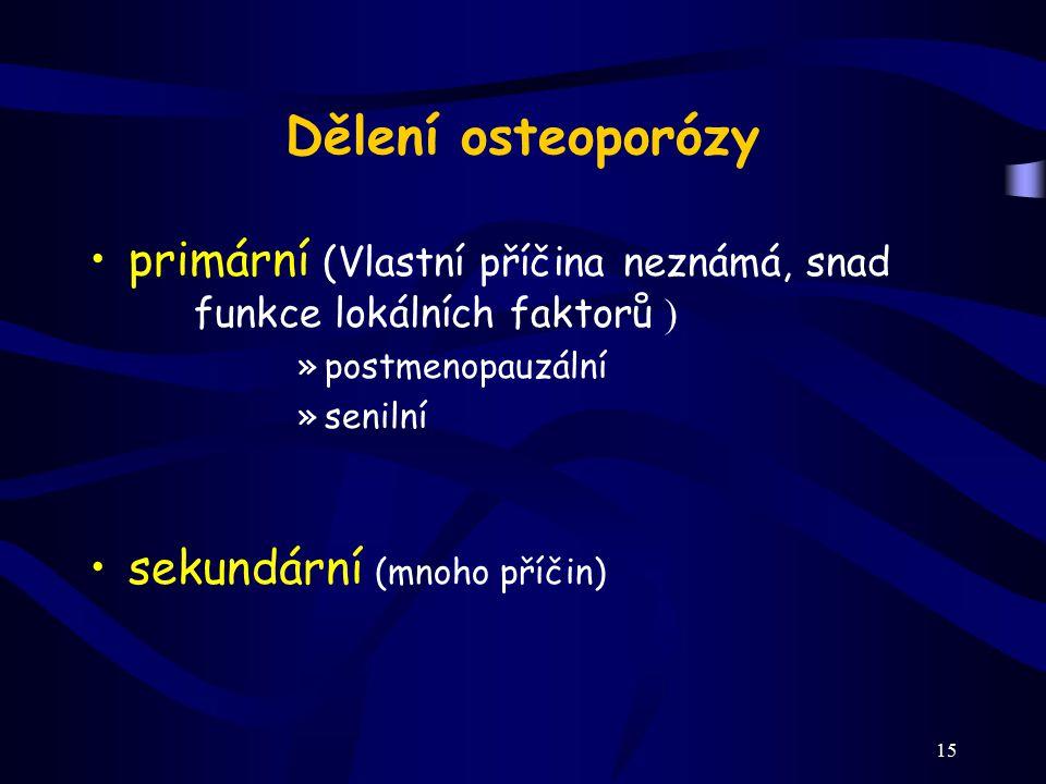 Dělení osteoporózy primární (Vlastní příčina neznámá, snad funkce lokálních faktorů ) postmenopauzální.
