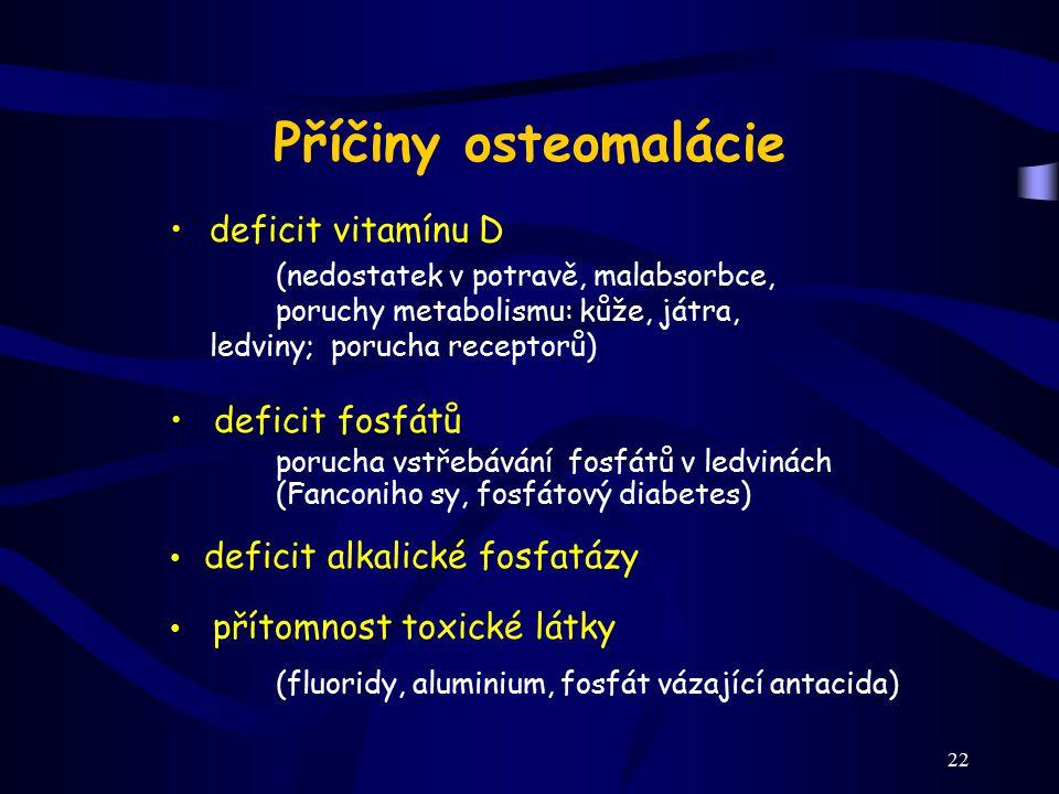 Příčiny osteomalácie deficit vitamínu D deficit fosfátů