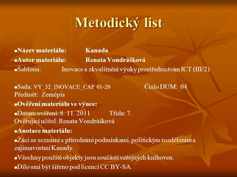 Metodický list Název materiálu: Kanada