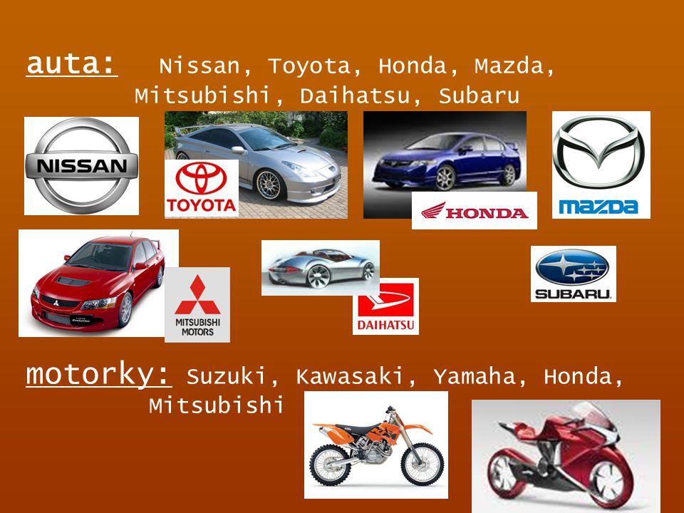 auta: Nissan, Toyota, Honda, Mazda, Mitsubishi, Daihatsu, Subaru