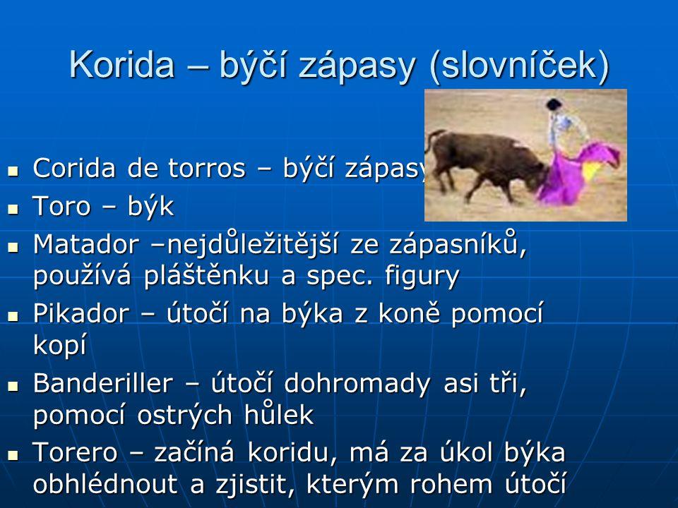 Korida – býčí zápasy (slovníček)