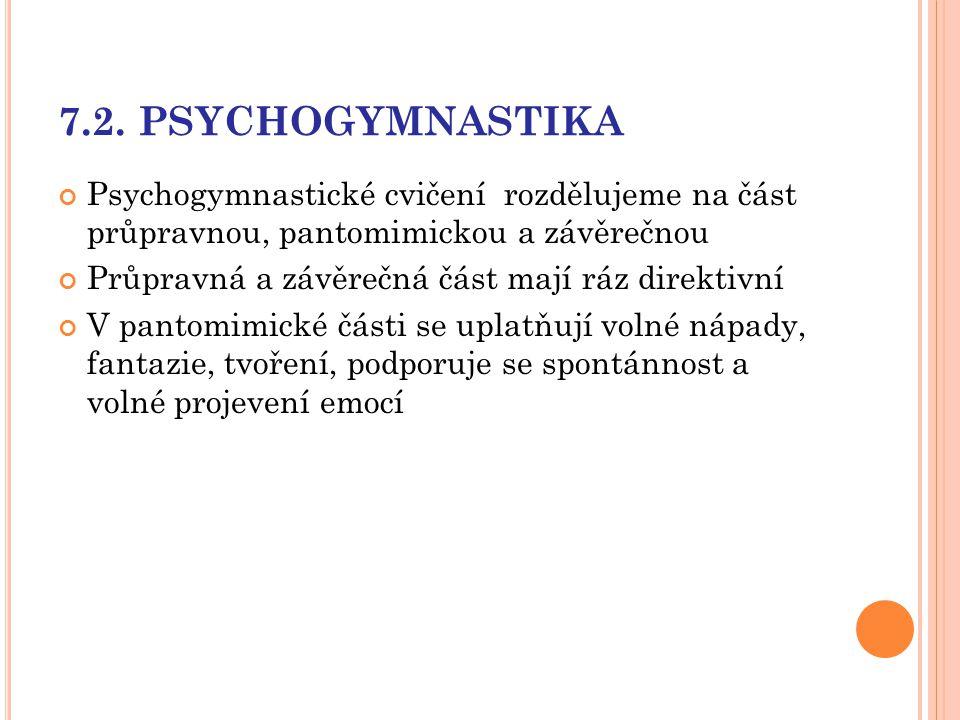 7.2. PSYCHOGYMNASTIKA Psychogymnastické cvičení rozdělujeme na část průpravnou, pantomimickou a závěrečnou.