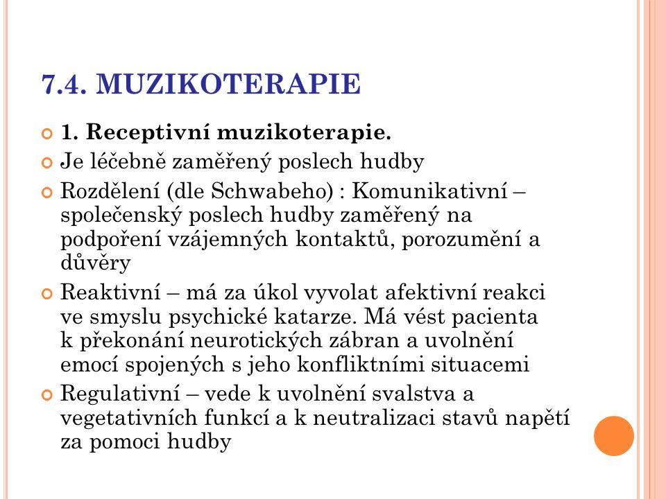 7.4. MUZIKOTERAPIE 1. Receptivní muzikoterapie.