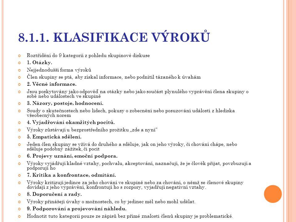 8.1.1. KLASIFIKACE VÝROKŮ Roztřídění do 9 kategorií z pohledu skupinové diskuse. 1. Otázky. Nejjednodušší forma výroků.