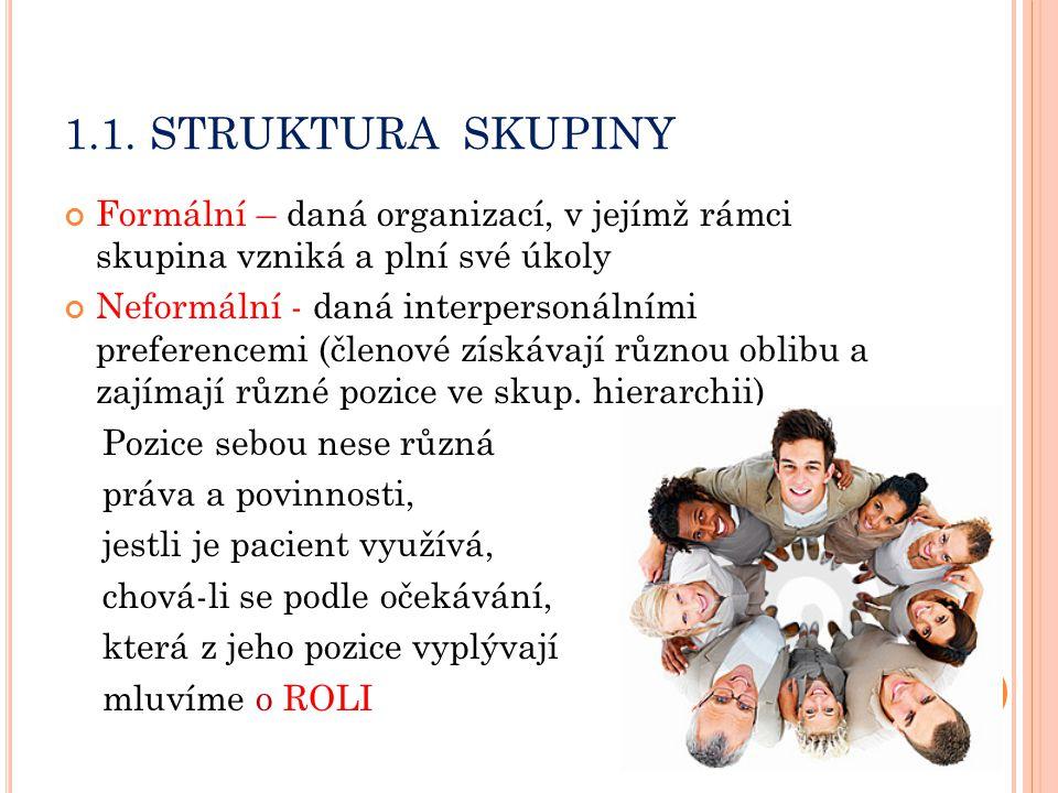 1.1. STRUKTURA SKUPINY Formální – daná organizací, v jejímž rámci skupina vzniká a plní své úkoly.
