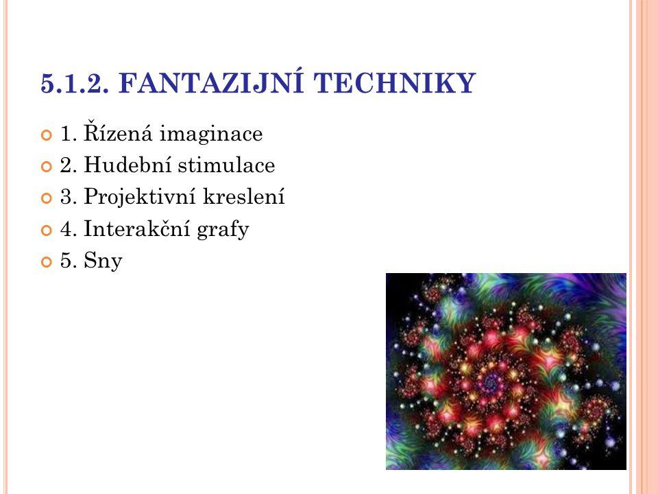 5.1.2. FANTAZIJNÍ TECHNIKY 1. Řízená imaginace 2. Hudební stimulace