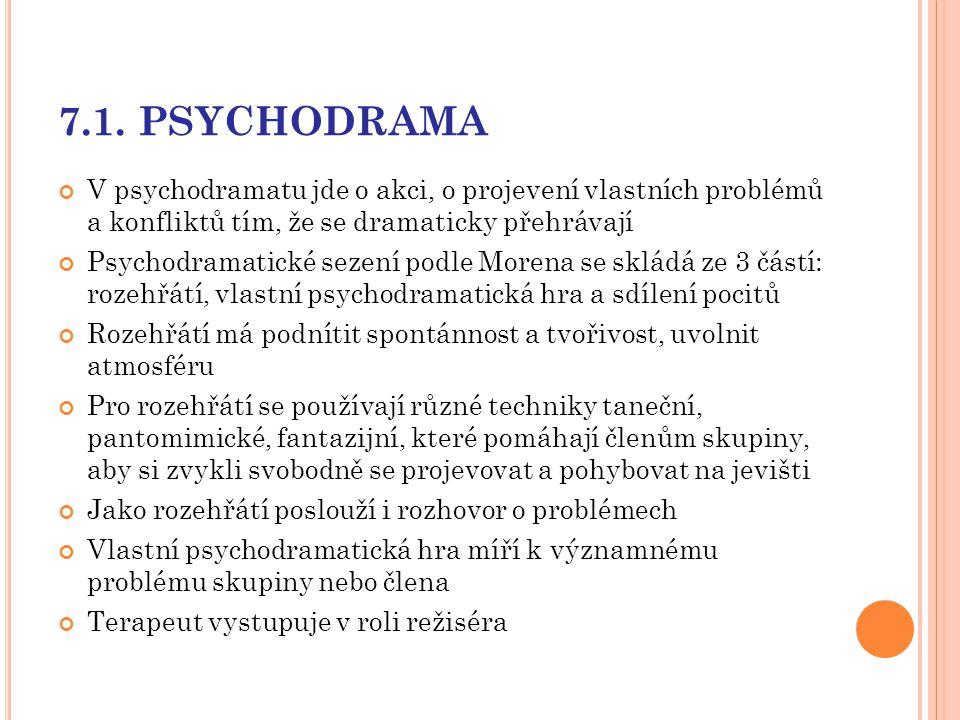 7.1. PSYCHODRAMA V psychodramatu jde o akci, o projevení vlastních problémů a konfliktů tím, že se dramaticky přehrávají.