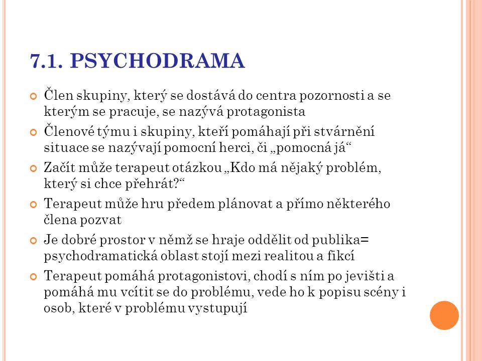 7.1. PSYCHODRAMA Člen skupiny, který se dostává do centra pozornosti a se kterým se pracuje, se nazývá protagonista.