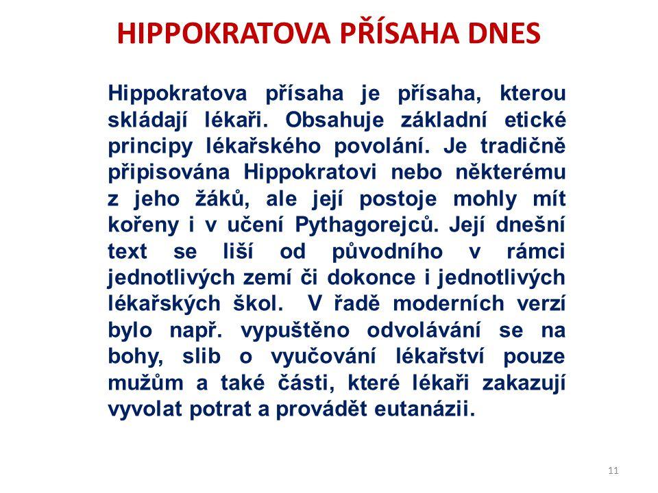 HIPPOKRATOVA PŘÍSAHA DNES