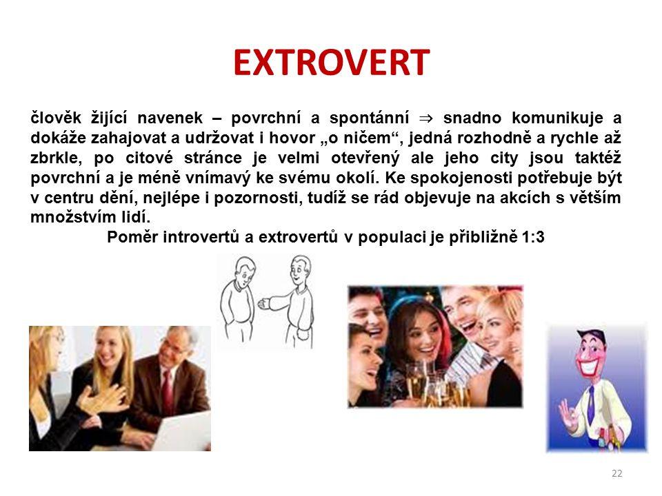 Poměr introvertů a extrovertů v populaci je přibližně 1:3