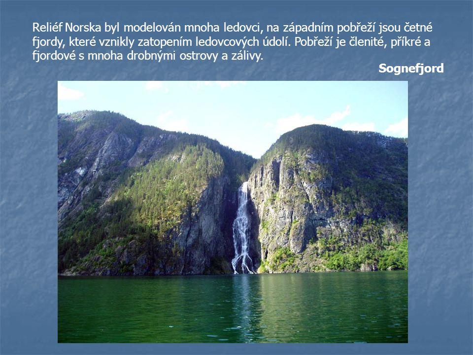 Reliéf Norska byl modelován mnoha ledovci, na západním pobřeží jsou četné fjordy, které vznikly zatopením ledovcových údolí. Pobřeží je členité, příkré a fjordové s mnoha drobnými ostrovy a zálivy.
