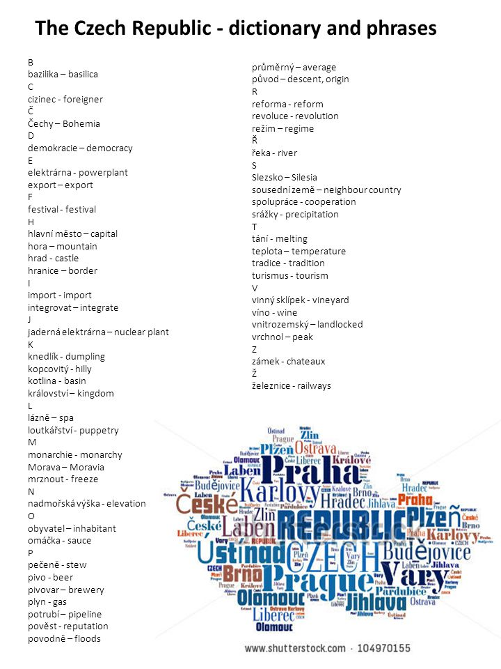 The Czech Republic - dictionary and phrases