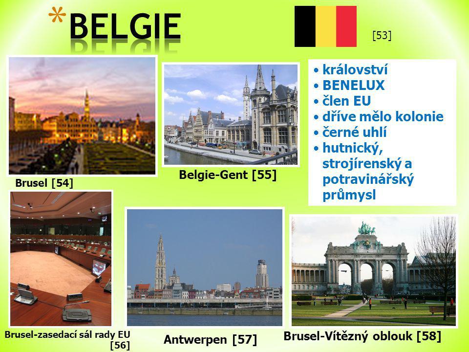 BELGIE království BENELUX člen EU dříve mělo kolonie černé uhlí