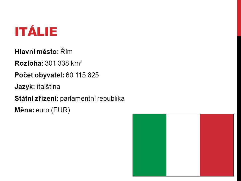 Itálie Hlavní město: Řím Rozloha: 301 338 km² Počet obyvatel: 60 115 625 Jazyk: italština Státní zřízení: parlamentní republika Měna: euro (EUR)