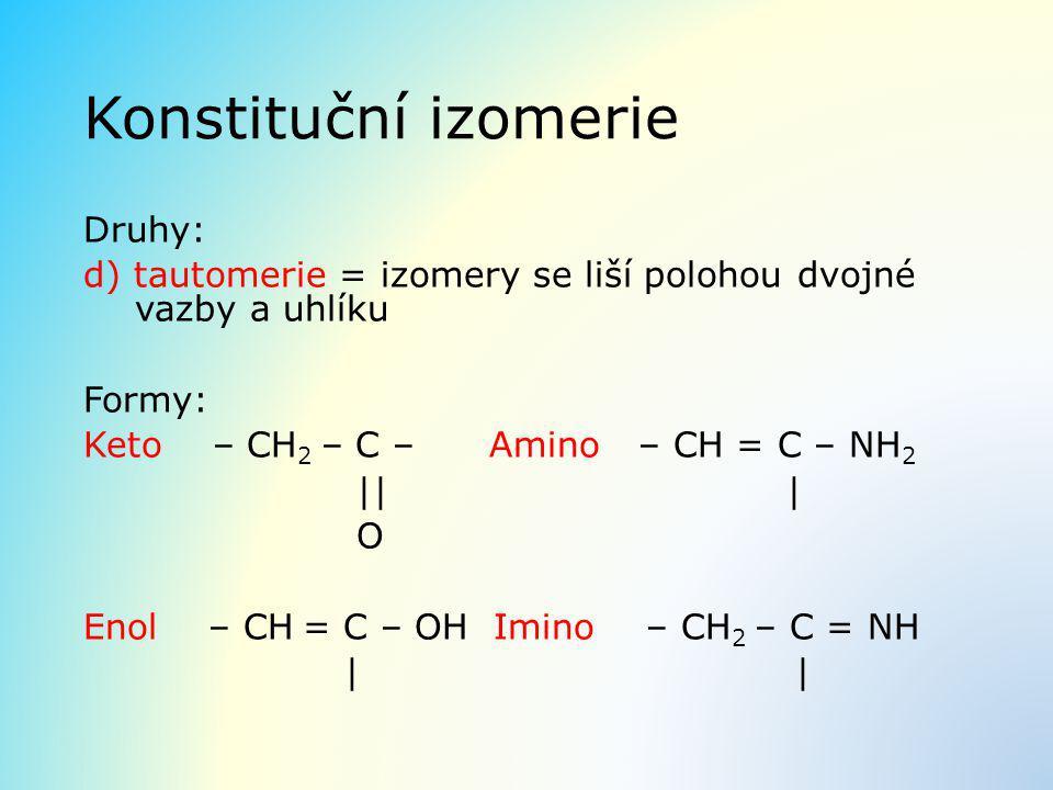 Konstituční izomerie Druhy: