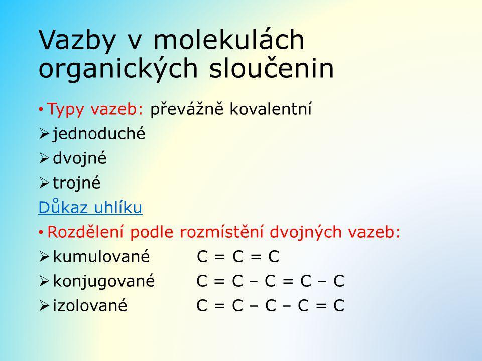 Vazby v molekulách organických sloučenin