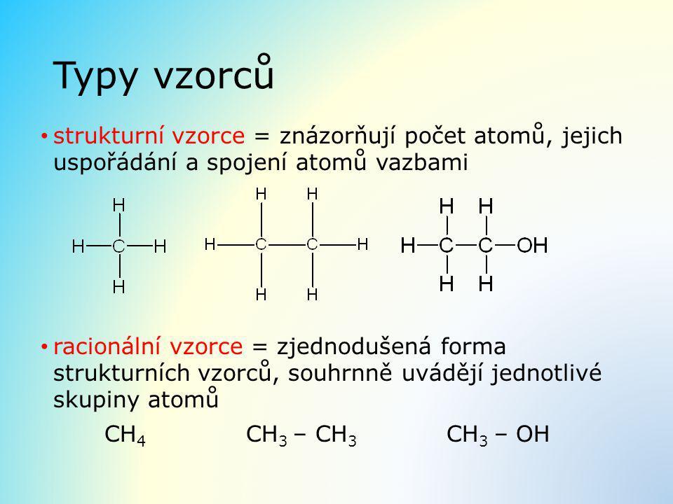 Typy vzorců strukturní vzorce = znázorňují počet atomů, jejich uspořádání a spojení atomů vazbami.
