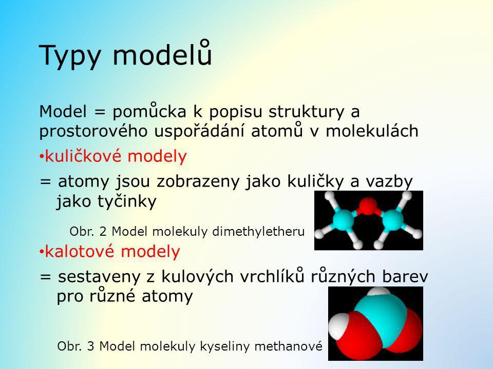 Typy modelů Model = pomůcka k popisu struktury a prostorového uspořádání atomů v molekulách. kuličkové modely.