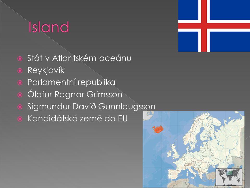 Island Stát v Atlantském oceánu Reykjavík Parlamentní republika
