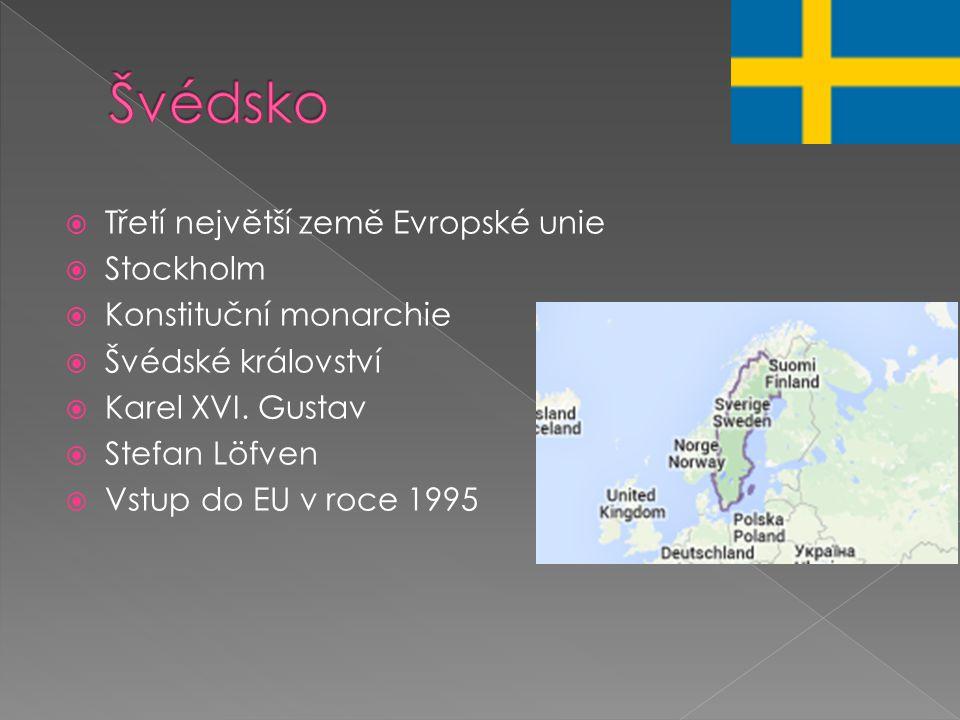 Švédsko Třetí největší země Evropské unie Stockholm