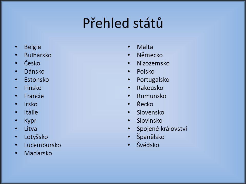 Přehled států Belgie Bulharsko Česko Dánsko Estonsko Finsko Francie
