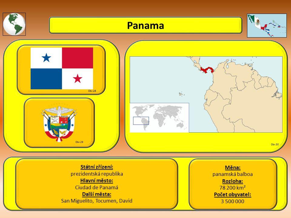 Panama Státní zřízení: Měna: prezidentská republika panamská balboa