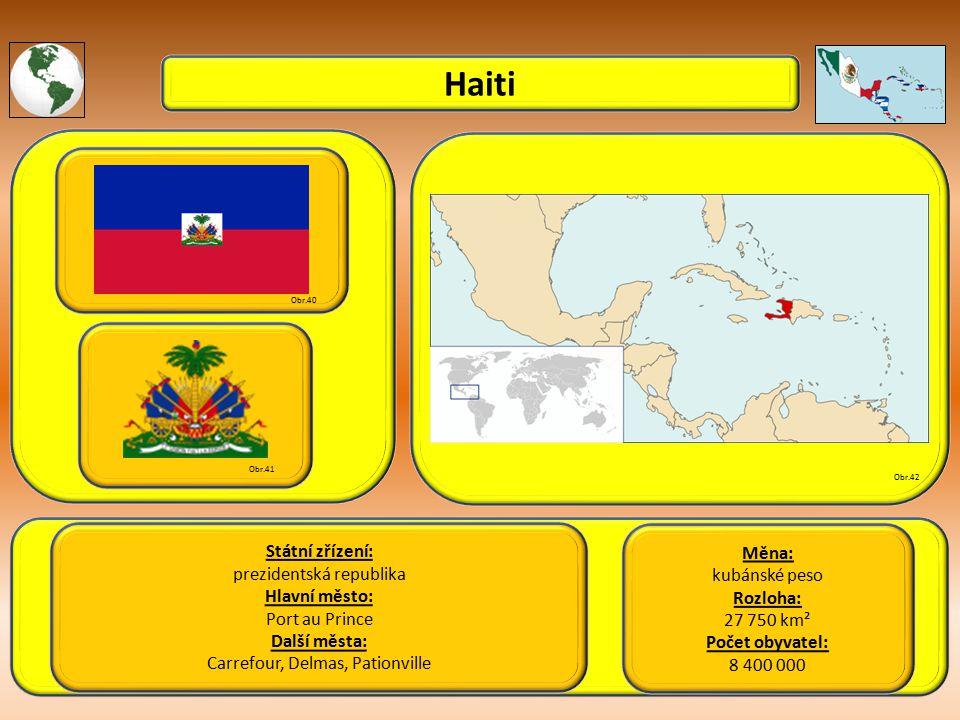 Haiti Státní zřízení: Měna: prezidentská republika kubánské peso