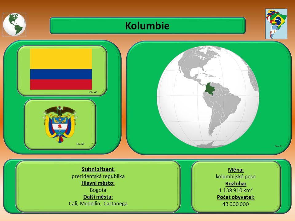 Kolumbie Státní zřízení: Měna: prezidentská republika kolumbijské peso