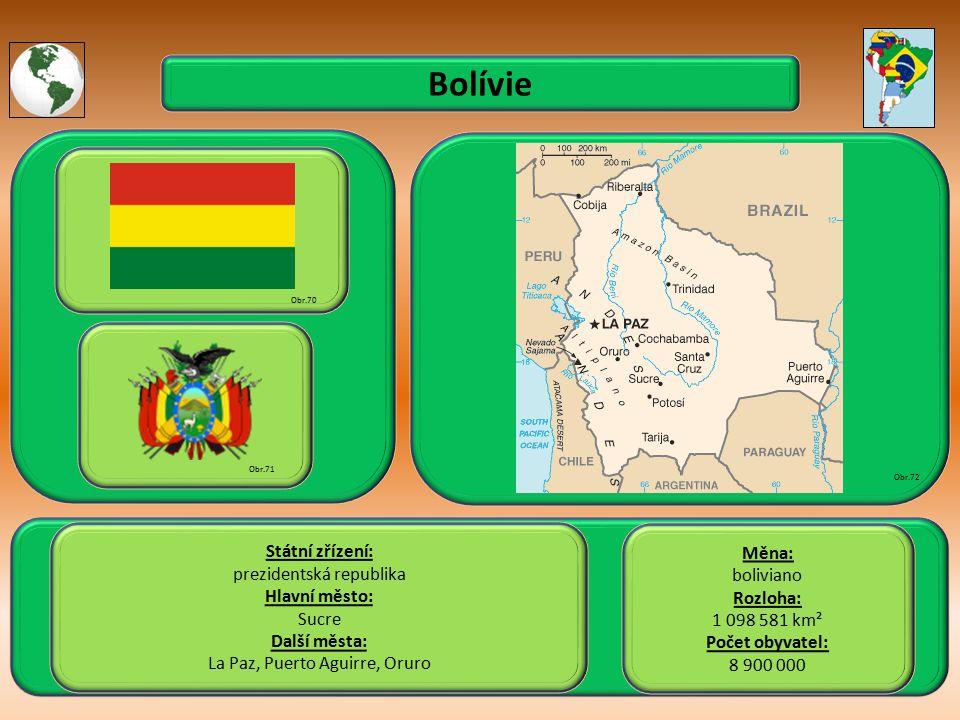 Bolívie Státní zřízení: Měna: prezidentská republika boliviano