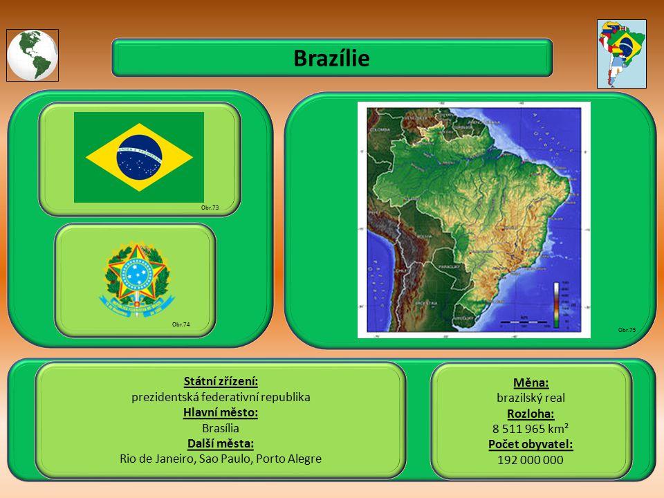 Brazílie Státní zřízení: Měna: prezidentská federativní republika