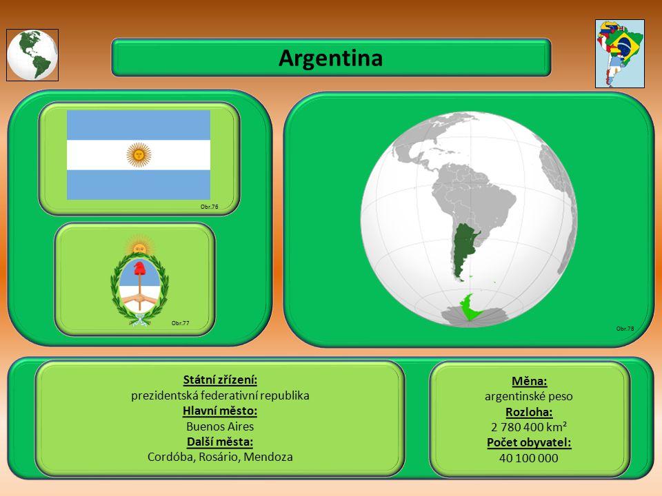 Argentina Státní zřízení: Měna: prezidentská federativní republika