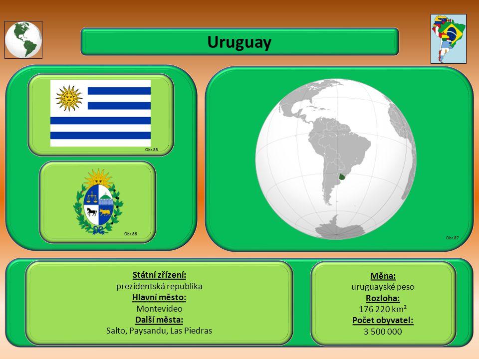 Uruguay Státní zřízení: Měna: prezidentská republika uruguayské peso