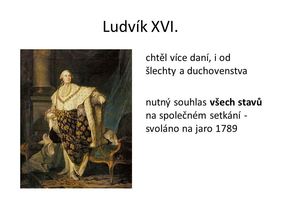 Ludvík XVI. chtěl více daní, i od šlechty a duchovenstva