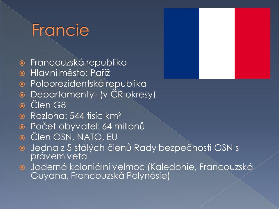Francie Francouzská republika Hlavní město: Paříž